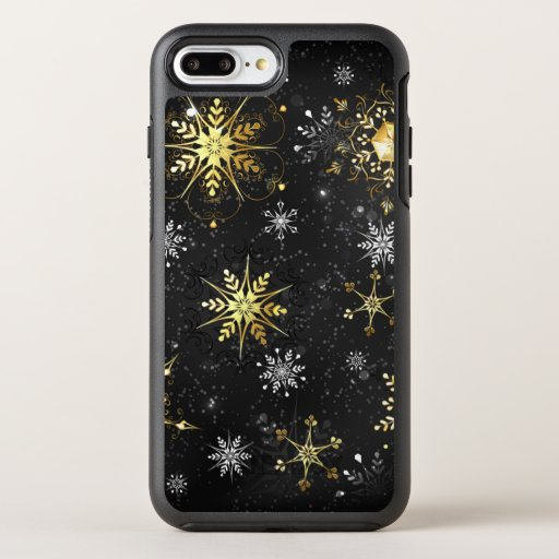 Xmas Golden Snowflakes on Black Background OtterBox Symmetry iPhone 8 Plus/7 Plus Case