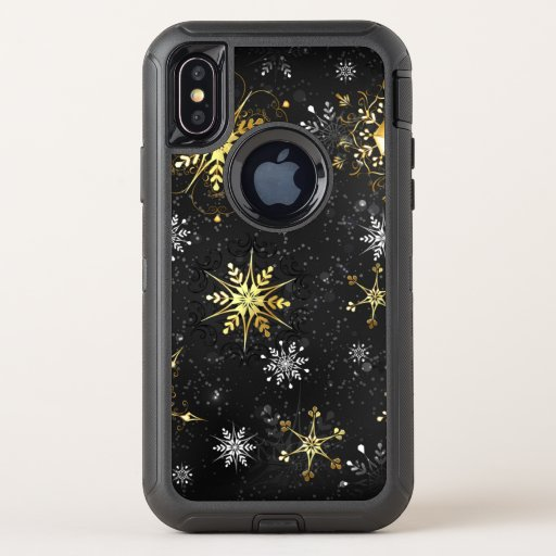 Xmas Golden Snowflakes on Black Background OtterBox Defender iPhone X Case