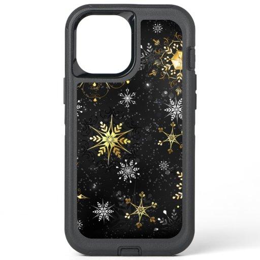 Xmas Golden Snowflakes on Black Background OtterBox Defender iPhone 12 Pro Max Case