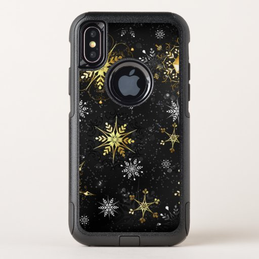 Xmas Golden Snowflakes on Black Background OtterBox Commuter iPhone X Case