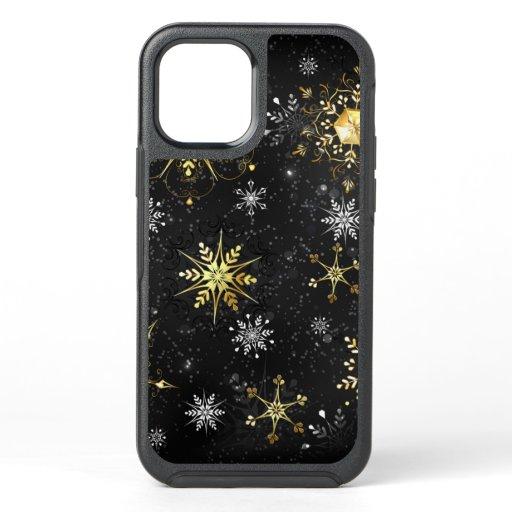 Xmas Golden Snowflakes on Black Background OtterBox Symmetry iPhone 12 Case