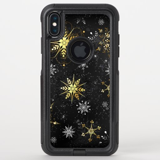 Xmas Golden Snowflakes on Black Background OtterBox Commuter iPhone XS Max Case