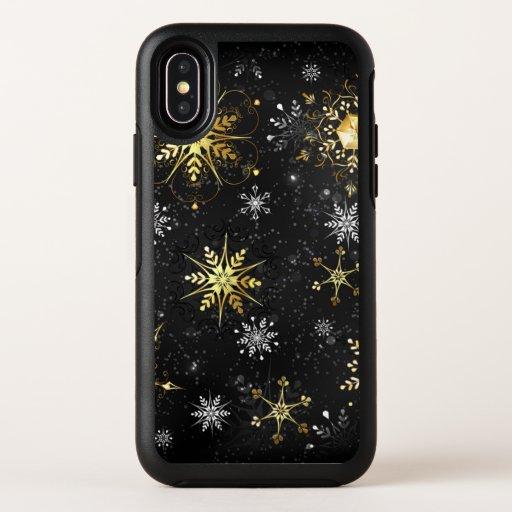 Xmas Golden Snowflakes on Black Background OtterBox Symmetry iPhone X Case