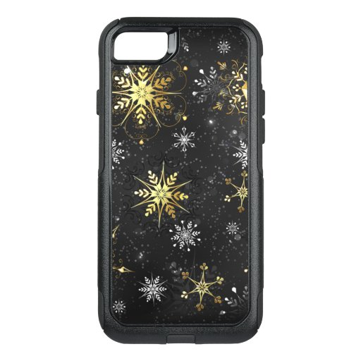 Xmas Golden Snowflakes on Black Background OtterBox Commuter iPhone SE/8/7 Case