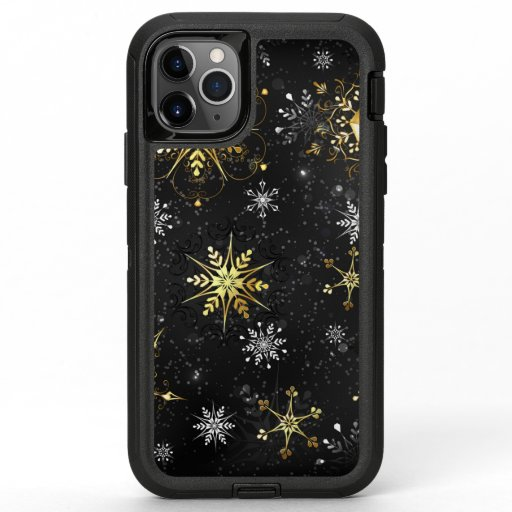 Xmas Golden Snowflakes on Black Background OtterBox Defender iPhone 11 Pro Max Case