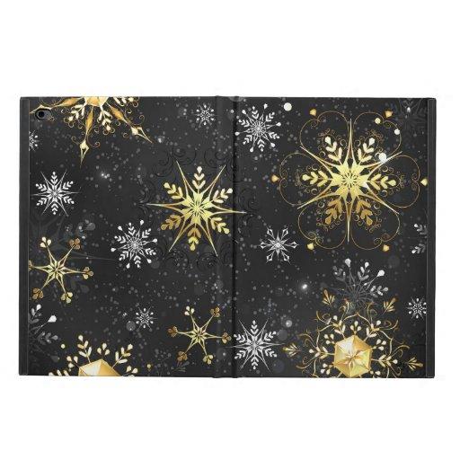 Xmas Golden Snowflakes on Black Background Powis iPad Air 2 Case