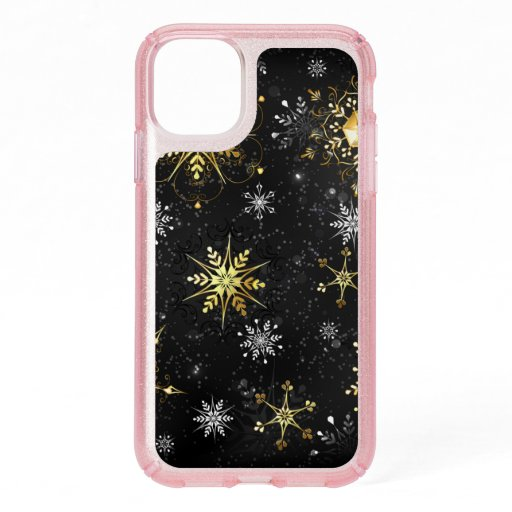 Xmas Golden Snowflakes on Black Background Speck iPhone 11 Case