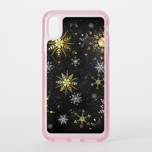 Xmas Golden Snowflakes on Black Background Speck iPhone XS Max Case