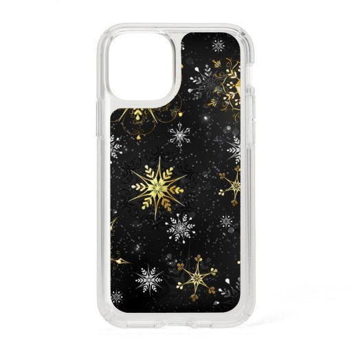 Xmas Golden Snowflakes on Black Background Speck iPhone 11 Pro Case