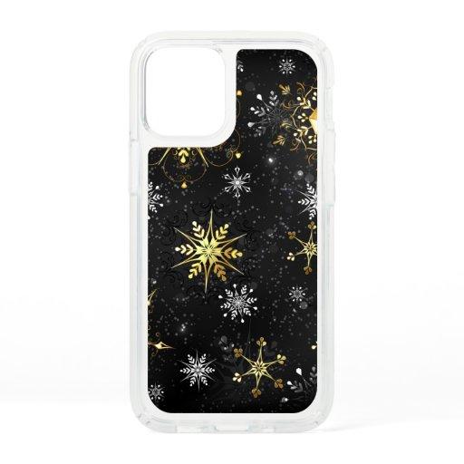 Xmas Golden Snowflakes on Black Background Speck iPhone 12 Mini Case