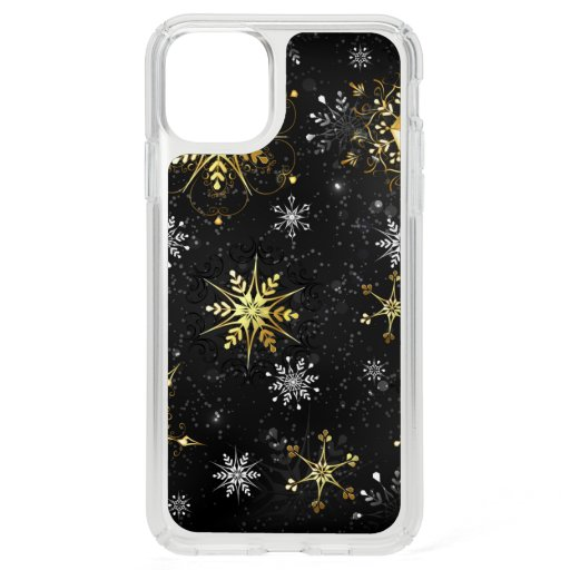 Xmas Golden Snowflakes on Black Background Speck iPhone 11 Pro Max Case
