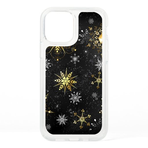 Xmas Golden Snowflakes on Black Background Speck iPhone 12 Pro Case