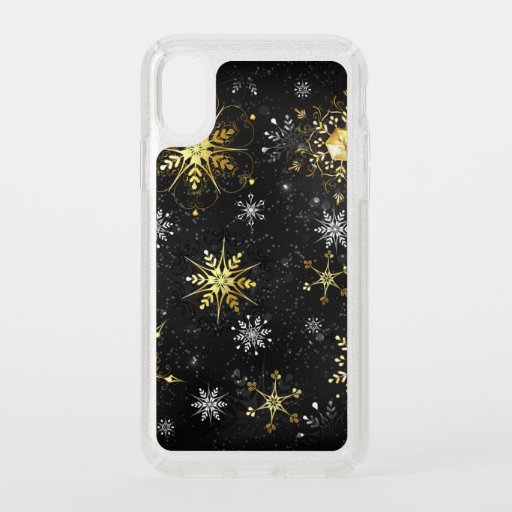 Xmas Golden Snowflakes on Black Background Speck iPhone XS Case