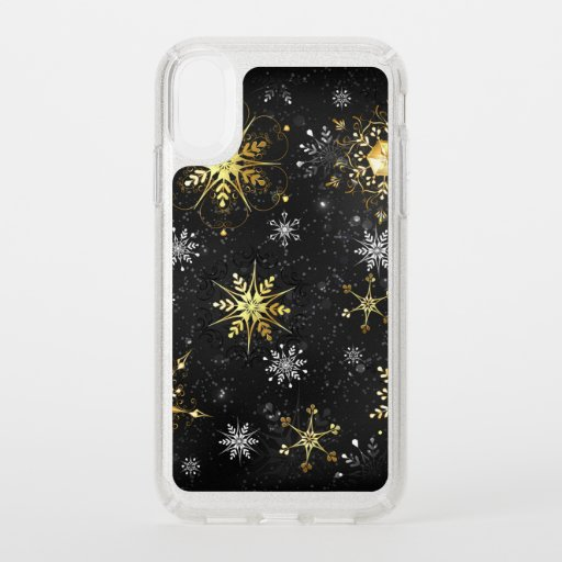 Xmas Golden Snowflakes on Black Background Speck iPhone XR Case