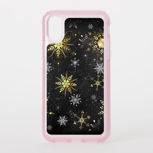 Xmas Golden Snowflakes on Black Background Speck iPhone X Case