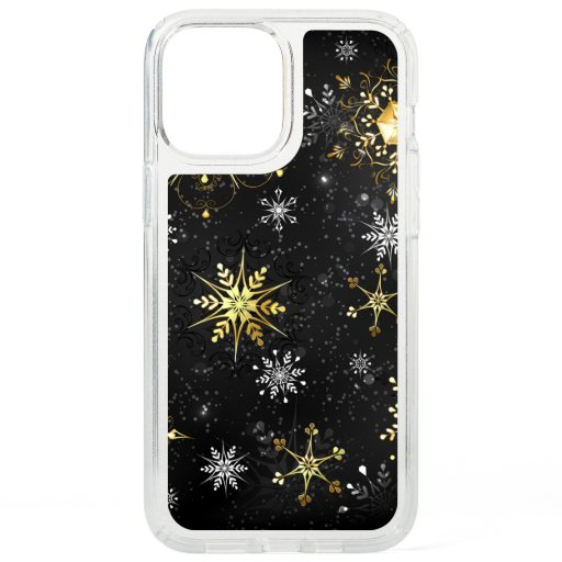 Xmas Golden Snowflakes on Black Background Speck iPhone 12 Pro Max Case