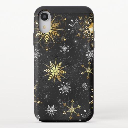 Xmas Golden Snowflakes on Black Background iPhone XR Slider Case