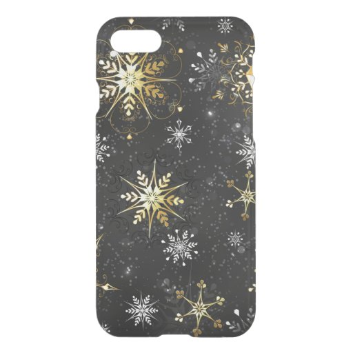 Xmas Golden Snowflakes on Black Background iPhone SE/8/7 Case