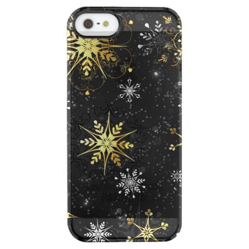Xmas Golden Snowflakes on Black Background Clear iPhone SE/5/5s Case
