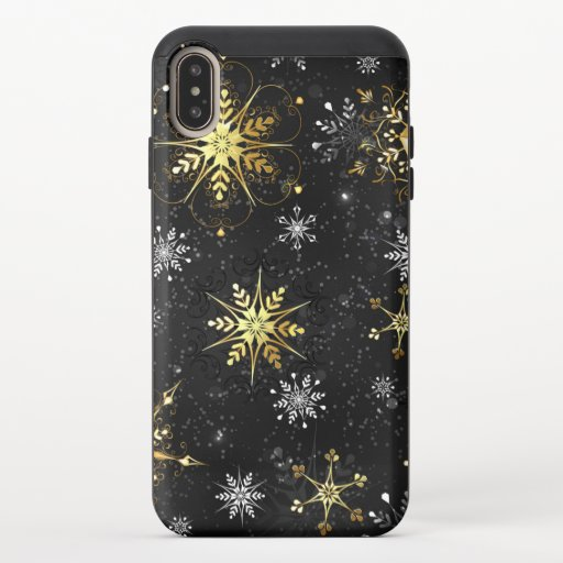 Xmas Golden Snowflakes on Black Background iPhone XS Max Slider Case