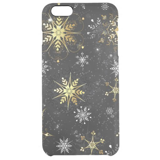 Xmas Golden Snowflakes on Black Background Clear iPhone 6 Plus Case