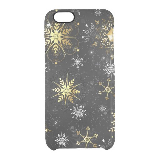 Xmas Golden Snowflakes on Black Background Clear iPhone 6/6S Case