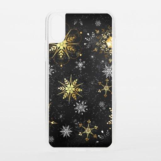 Xmas Golden Snowflakes on Black Background iPhone XS Case