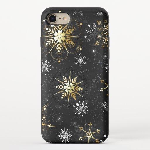 Xmas Golden Snowflakes on Black Background iPhone 8/7 Slider Case