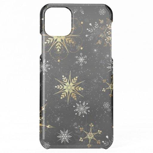 Xmas Golden Snowflakes on Black Background iPhone 11 Pro Max Case