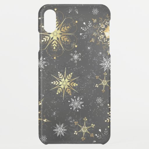 Xmas Golden Snowflakes on Black Background iPhone XS Max Case