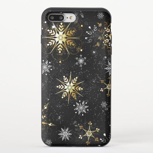 Xmas Golden Snowflakes on Black Background iPhone 8/7 Plus Slider Case