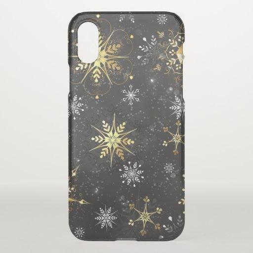 Xmas Golden Snowflakes on Black Background iPhone X Case