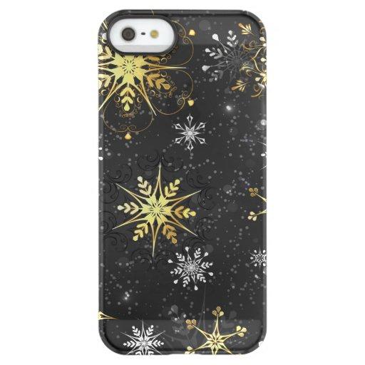Xmas Golden Snowflakes on Black Background Permafrost iPhone SE/5/5s Case