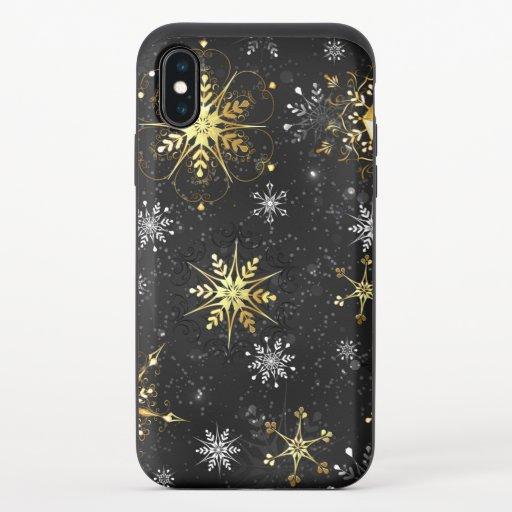 Xmas Golden Snowflakes on Black Background iPhone XS Slider Case