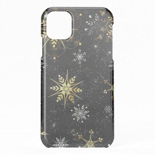 Xmas Golden Snowflakes on Black Background iPhone 11 Case