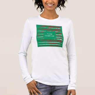 Xmas Grunge Stripes green Ladies Fitted Long Long Sleeve T-Shirt