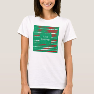 Xmas Grunge Stripes green Ladies Fitted T-shirt