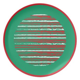 Xmas Grunge Stripes green Plate plate