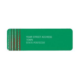 Xmas Grunge Stripes green Return Address Label