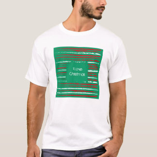 Xmas Grunge Stripes green T-shirt