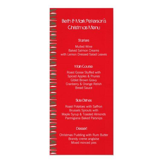 Xmas Grunge Stripes red Dinner Menu Card