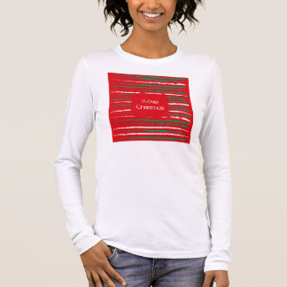 Xmas Grunge Stripes red Ladies Fitted Long Sleeve Long Sleeve T-Shirt