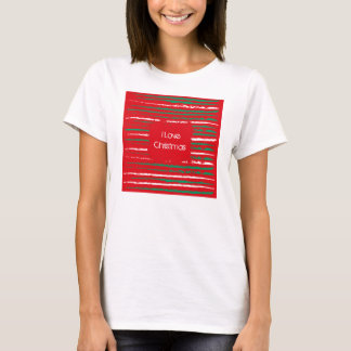 Xmas Grunge Stripes red Ladies Fitted T-shirt