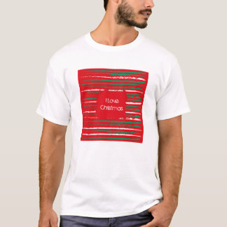 Xmas Grunge Stripes red T-shirt
