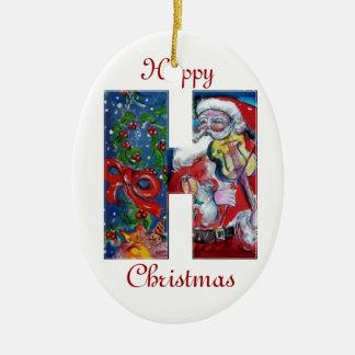 XMAS H LETTER /SANTA  CLAUS WITH VIOLIN MONOGRAM CHRISTMAS ORNAMENT