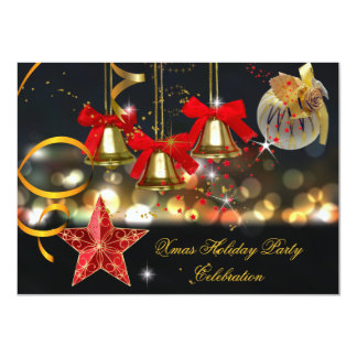Xmas Holiday Christmas Party Gold Red Black 4.5x6.25 Paper Invitation Card