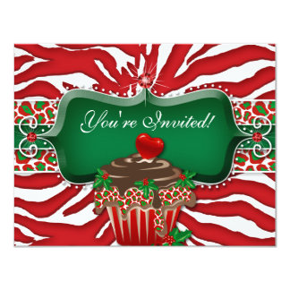 Xmas Holiday Cupcake Zebra Leopard Heart Card
