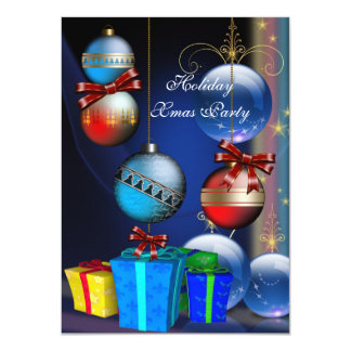 Xmas Holiday Party Red Blue Gifts Boxes Balls Card