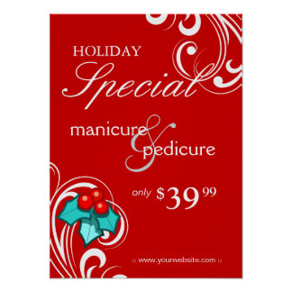 XMAS Holiday Sale Salon Poster Spa Red Blue Swirl
