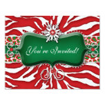Xmas Holiday Snowflake Zebra Leopard Heart 4.25x5.5 Paper Invitation Card